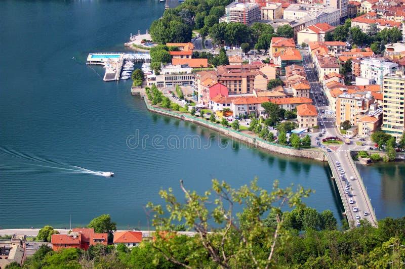 Lecco, meer Como, Italië stock afbeeldingen