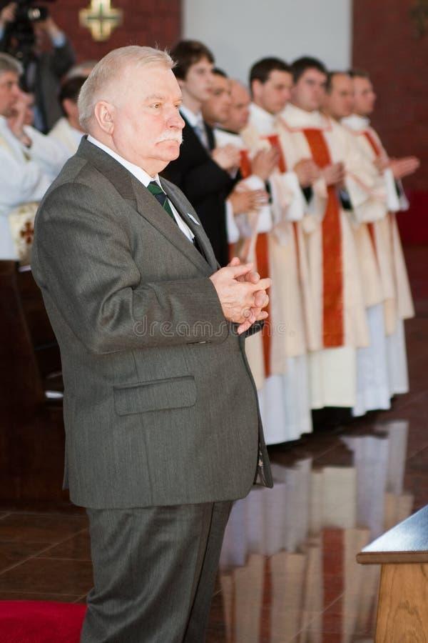 Lech Walesa στην εκκλησία στοκ εικόνα