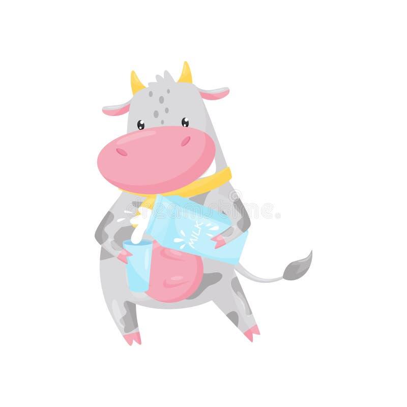 Leche de colada de la vaca linda en un ejemplo del vector del personaje de dibujos animados del animal del campo de cristal, dive ilustración del vector