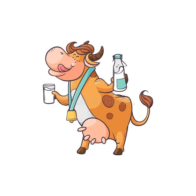 Leche de consumo de la vaca divertida del vidrio y de la botella, situación linda del personaje de dibujos animados con la cara d stock de ilustración
