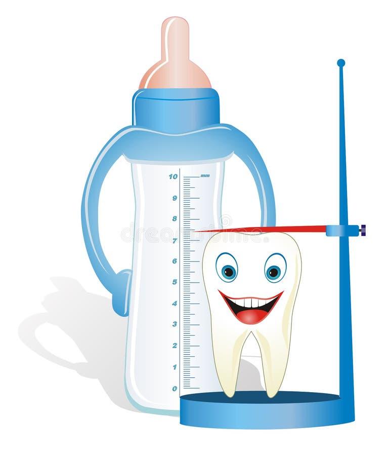 Leche-diente creciente con la introducir-botella libre illustration