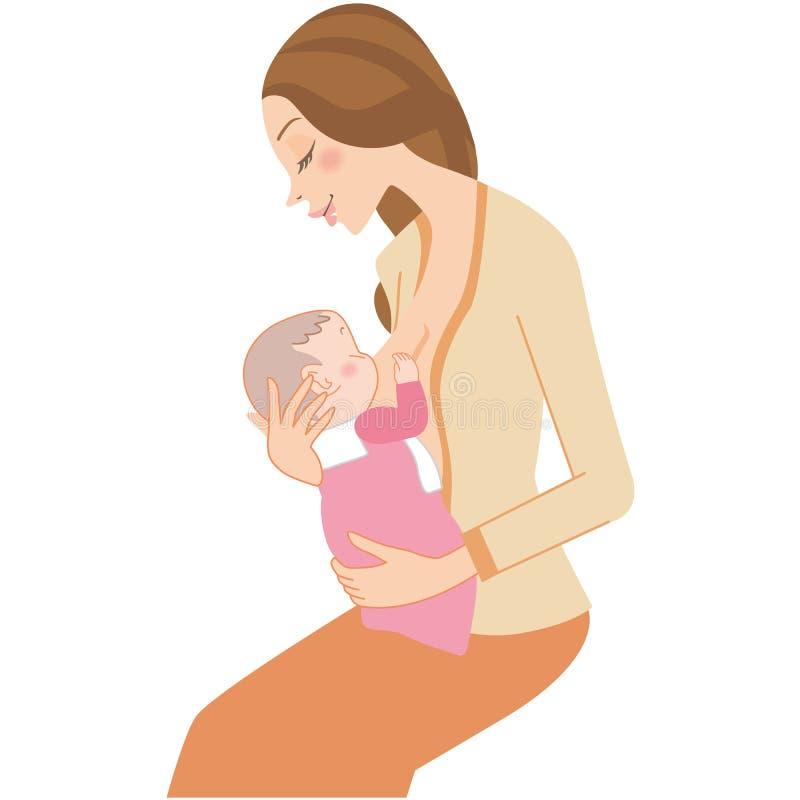 Leche materna de consumición del bebé ilustración del vector