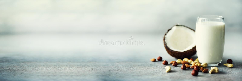 Leche orgánica de la nuez del vegano en vidrio con el diverso surtido de nueces - coco, almendra, anacardo, avellana en el hormig foto de archivo