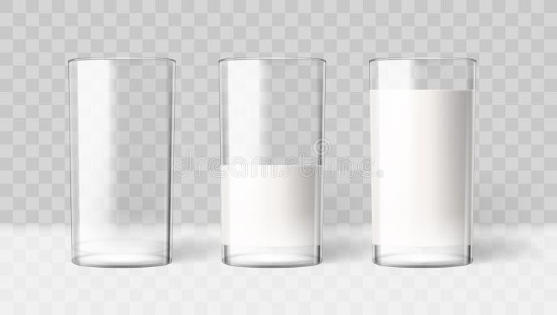 Leche transparente realista en un vidrio Producto de la bebida de la dieta ilustración del vector
