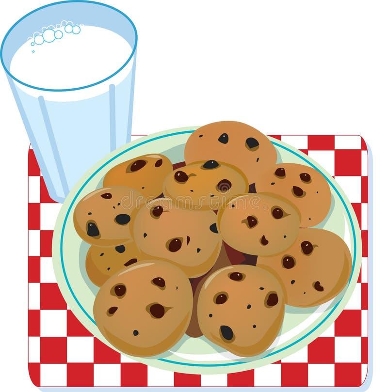 Leche y galletas ilustración del vector