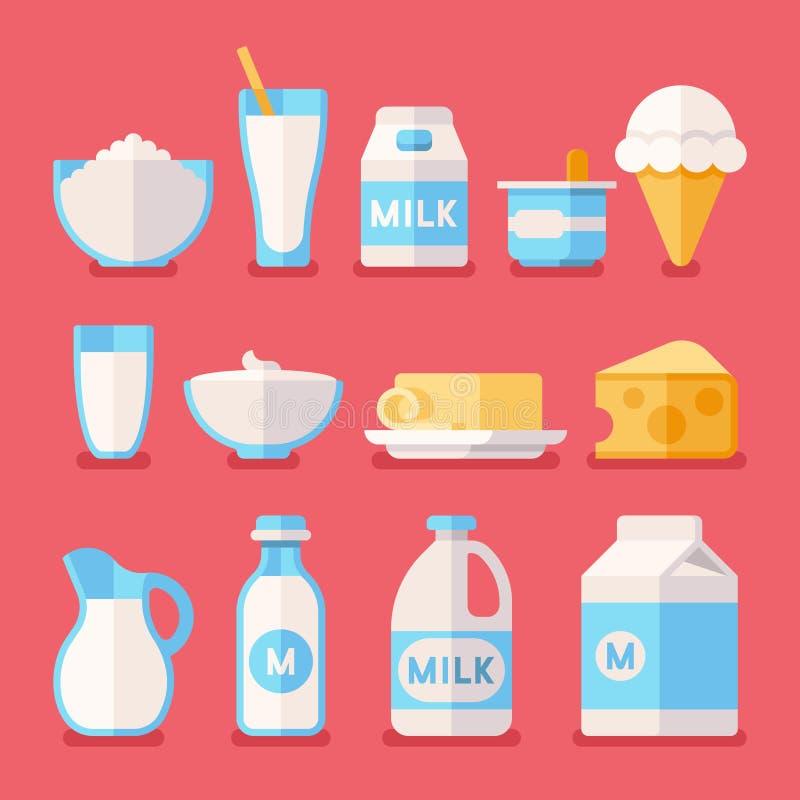 Lechería, leche, yogur, crema, iconos planos del vector de los productos del queso fijados stock de ilustración