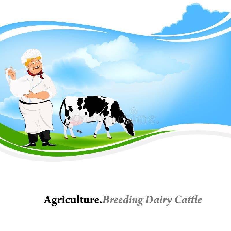 Lechero feliz con un jarro de leche stock de ilustración