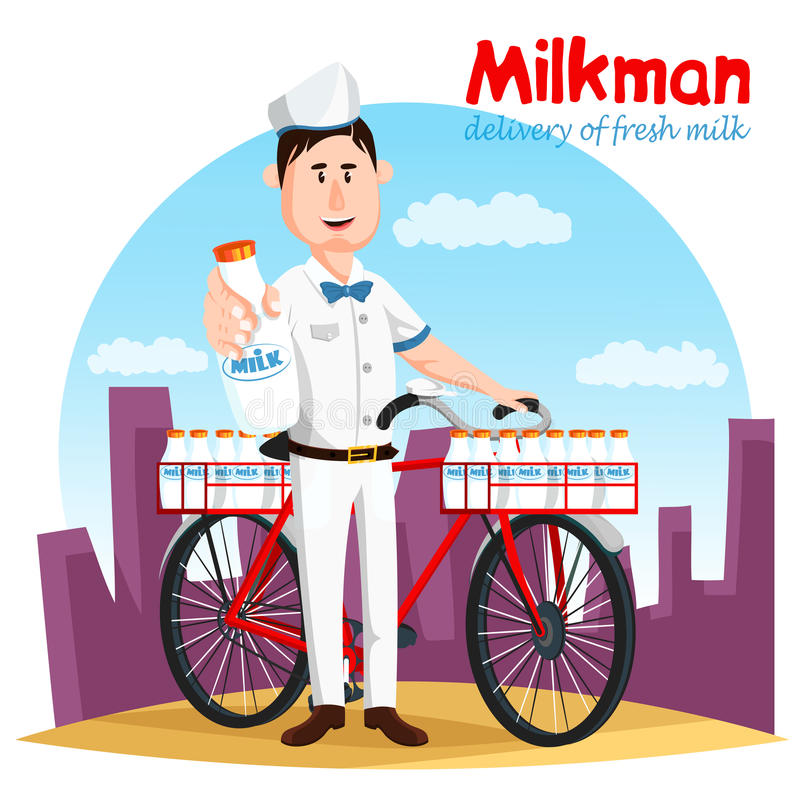 Lechero y su transporte de la bicicleta para la botella de leche stock de ilustración