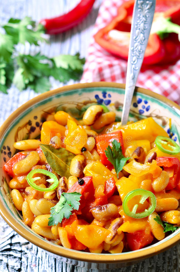 Lecho with bean. Lecho with bean - traditional dish of hungarian cuisine royalty free stock image