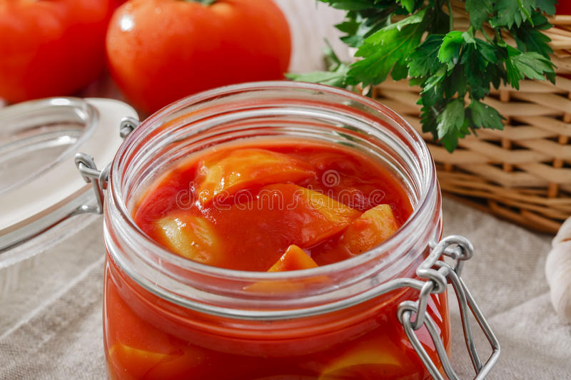 Lecho. In a glass jar stock photos