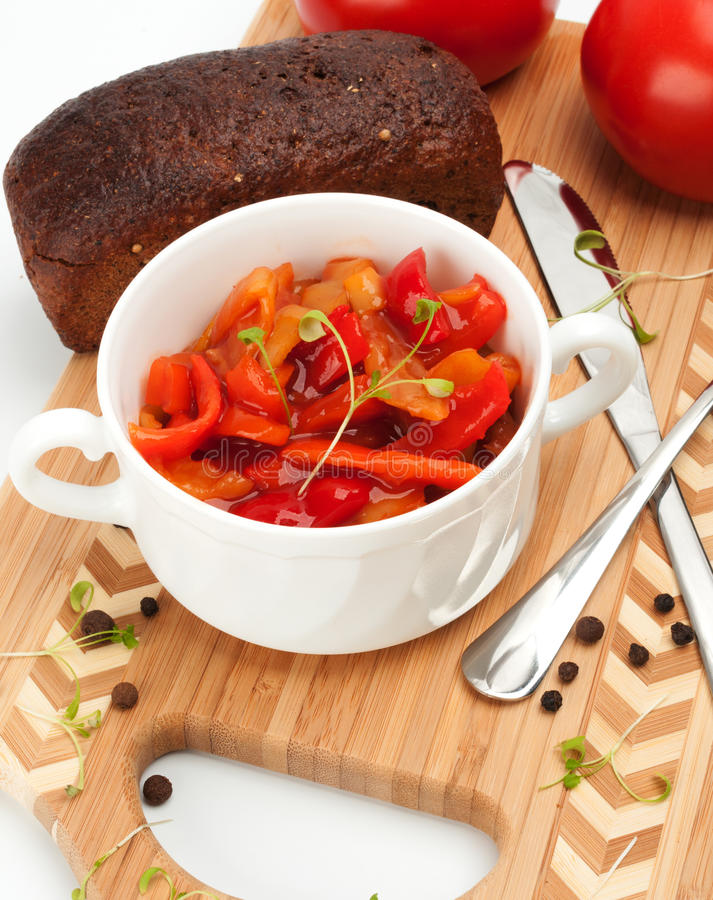 Lecho is an originally thick vegetable stew. Lecho is an originally Hungarian thick vegetable stew royalty free stock photo
