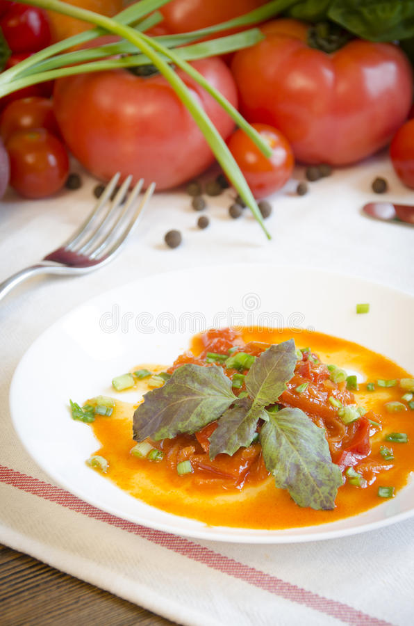Lecho stewed vegetable salad pepper tomato carrot stock images