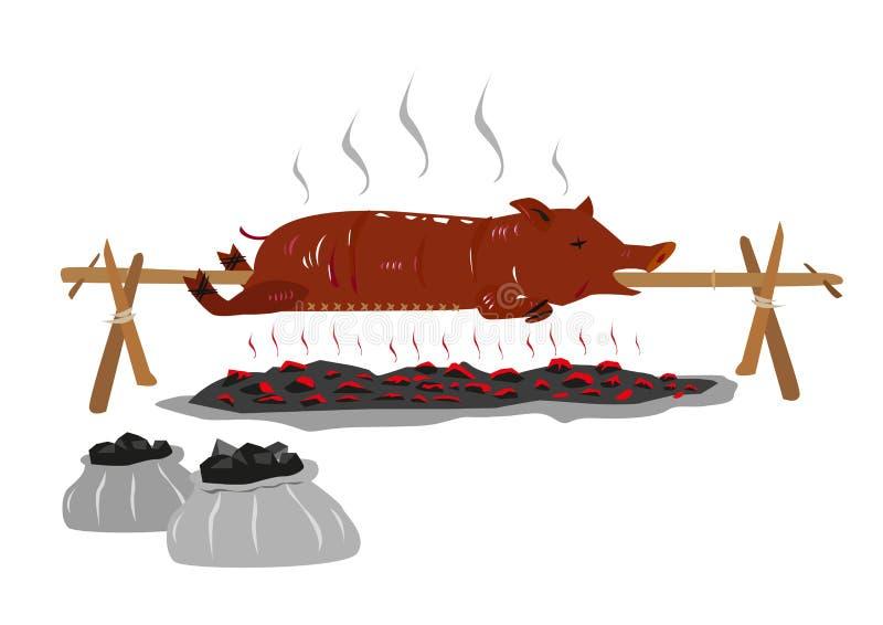 Lechon或乳猪在一根转动的棍子 库存例证