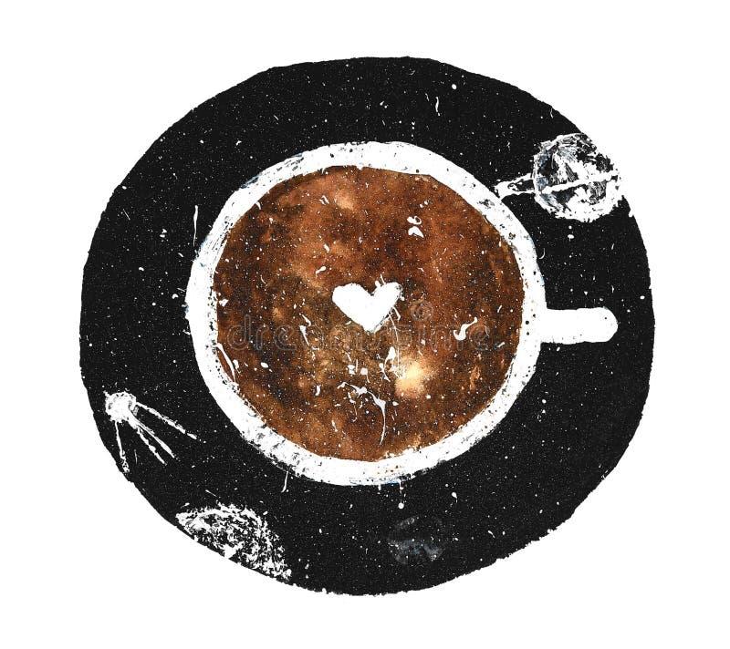 Leckere Kaffeetasse mit Planeten und Universum stock abbildung