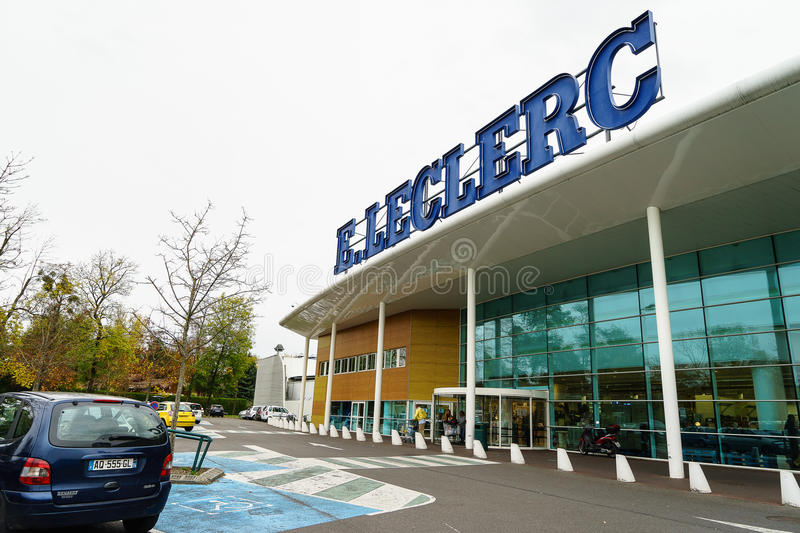 Leclerc hypermarket. Supermarket of E Leclerc a French hypermarket chain, currently has more than 500 locations in France and 114 stores outside of the country stock photo