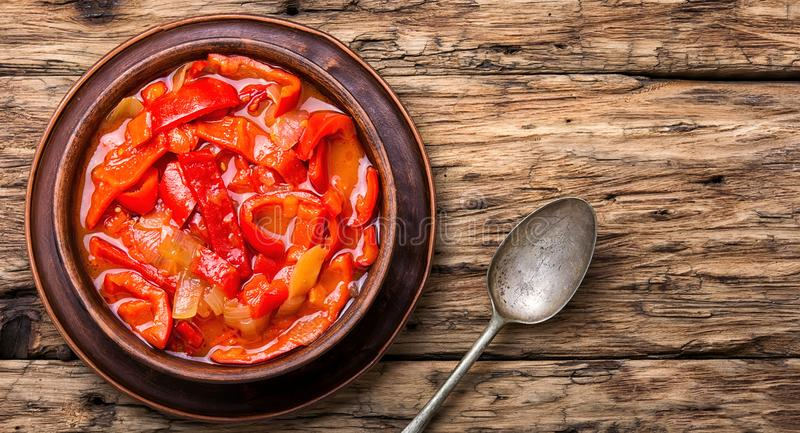 Lecso classic dish of Hungarian cuisine. Lecso national dish of Hungarian cuisine with pepper and tomato stock photo