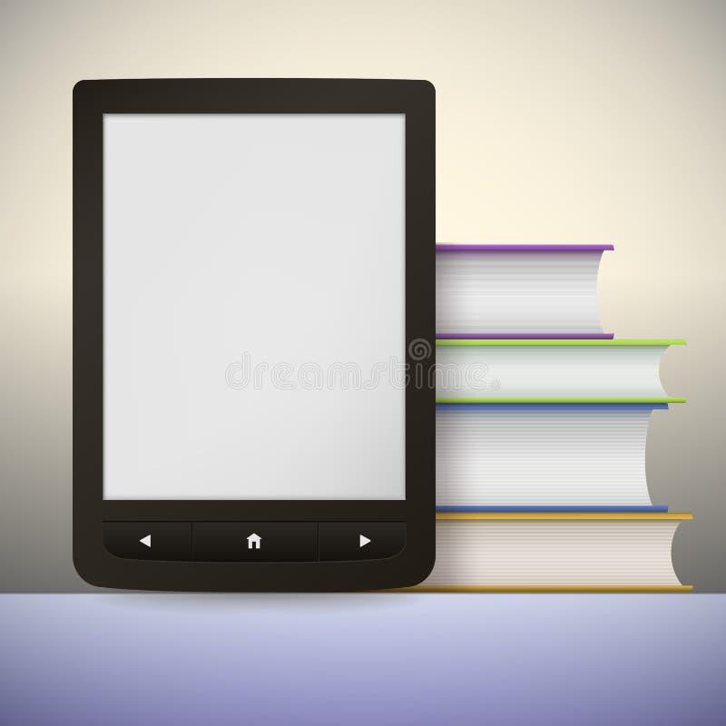Lecteur électronique de livre avec une pile de livres. Vous illustration de vecteur