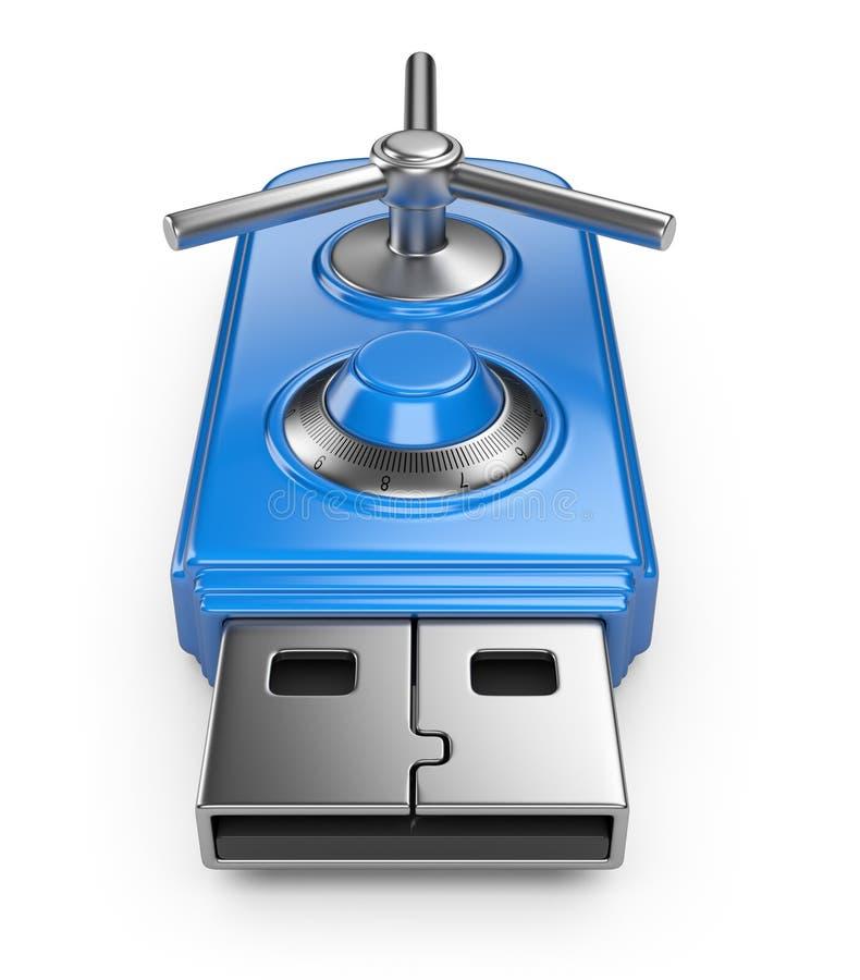 Lecteur d'instantané d'USB avec le blocage. Protection des données illustration stock