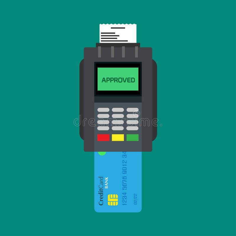 Lecteur de carte de crédit encaissant payant à icône de vecteur d'atmosphère de dispositif la vue supérieure Terminal sans argent illustration de vecteur