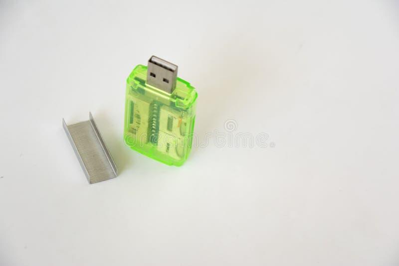 Lecteur de cartes avec l'agrafeuse image libre de droits