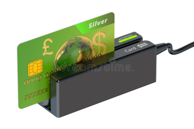 Lecteur de cartes avec la carte de crédit illustration stock