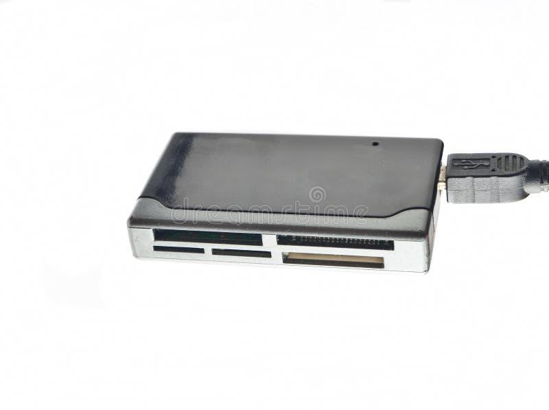 Lecteur de cartes d'USB d'isolement sur un fond blanc photo stock