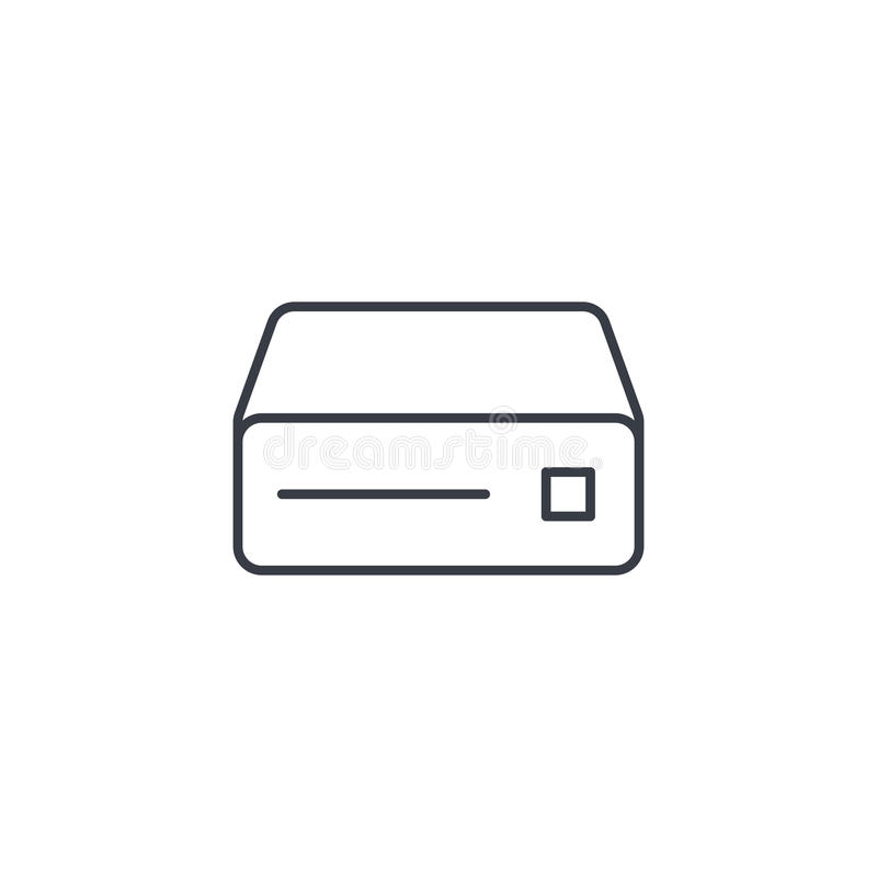 Lecteur de CD, console, DVD, ligne mince icône de disque compact-ROM Symbole linéaire de vecteur illustration de vecteur