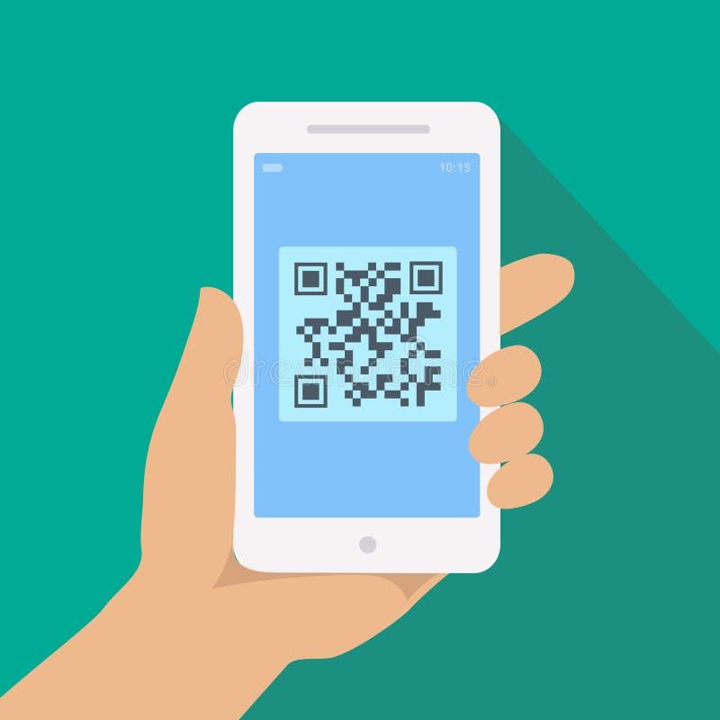 Lecteur de code de QR APP sur l'écran de smartphone Téléphone de participation de main avec le balayage illustration de vecteur