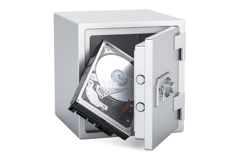 Lecteur de disque dur HDD à l'intérieur de boîte sûre, concept de protection 3d les déchirent illustration de vecteur
