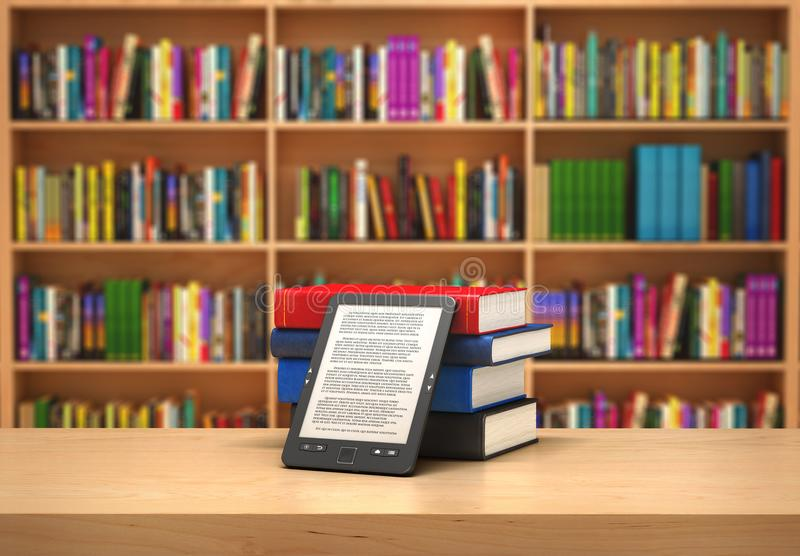 Lecteur de livre sur le fond brouillé ; illustration 3d illustration stock
