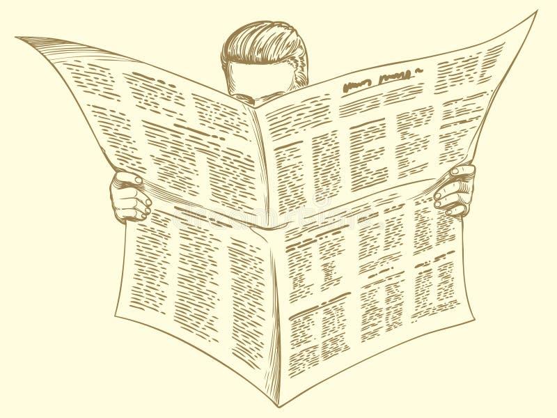 Lecteur de matin de la presse, actualités illustration de vecteur
