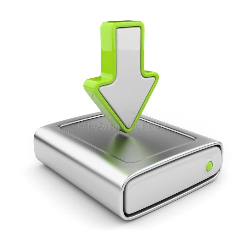 Lecteur et flèche de HDD. Graphisme 3D de données de téléchargement illustration stock