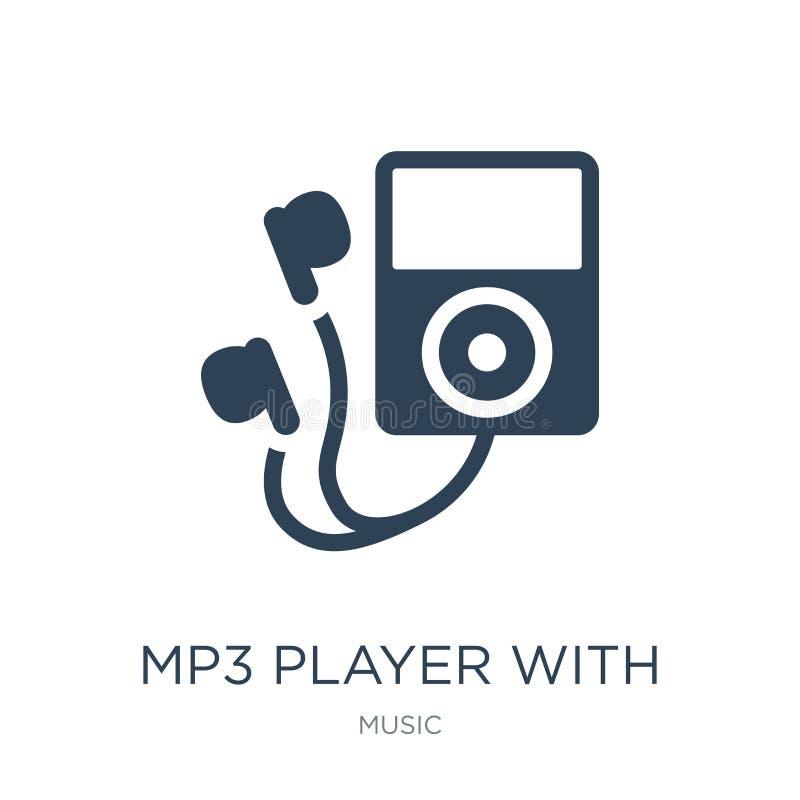 lecteur mp3 avec l'icône d'écouteurs dans le style à la mode de conception lecteur mp3 avec l'icône d'écouteurs d'isolement sur l illustration de vecteur