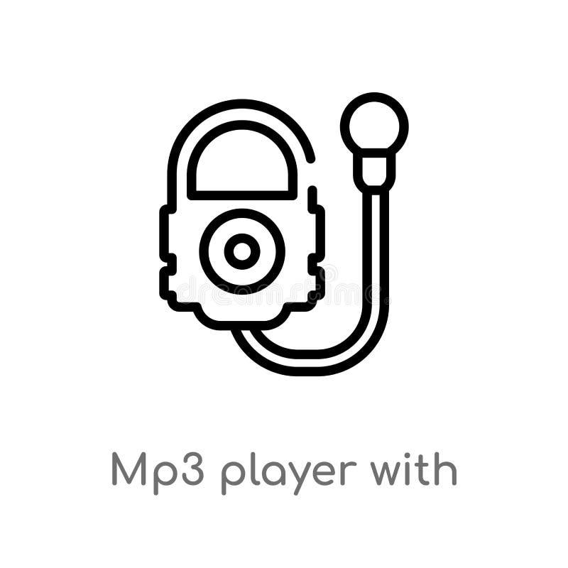 lecteur mp3 d'ensemble avec l'icône de vecteur d'écouteurs ligne simple noire d'isolement illustration d'élément de concept de mu illustration libre de droits
