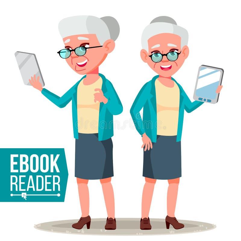 Lecteur Vector d'EBook Dame âgée Instrument électronique Bibliothèque mobile Tablette de Digitals Illustration plate d'isolement  illustration de vecteur