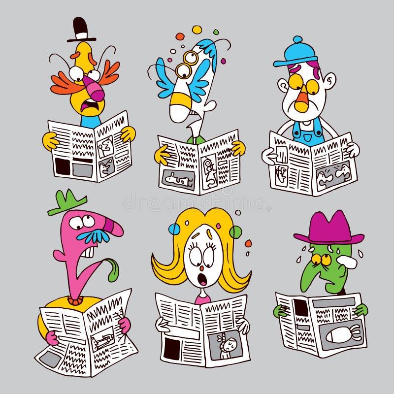 Lecteurs de journal illustration stock