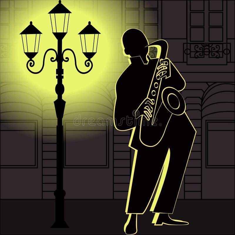 Lecteurs de musique de jazz avec la trompette, saxophone illustration de vecteur