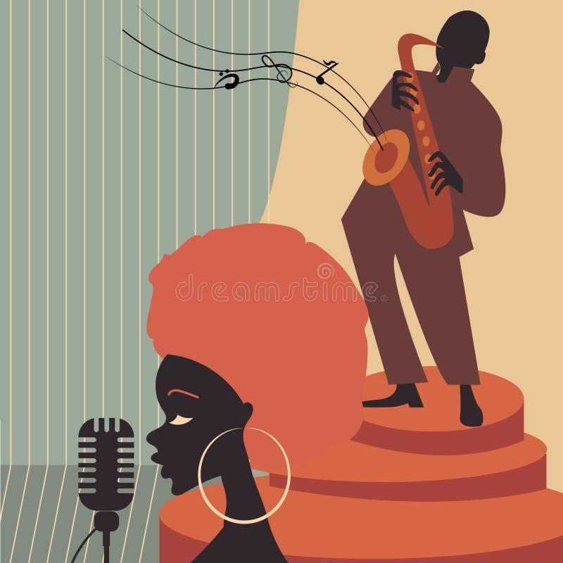 Lecteurs de musique de jazz avec la trompette, saxophone illustration stock