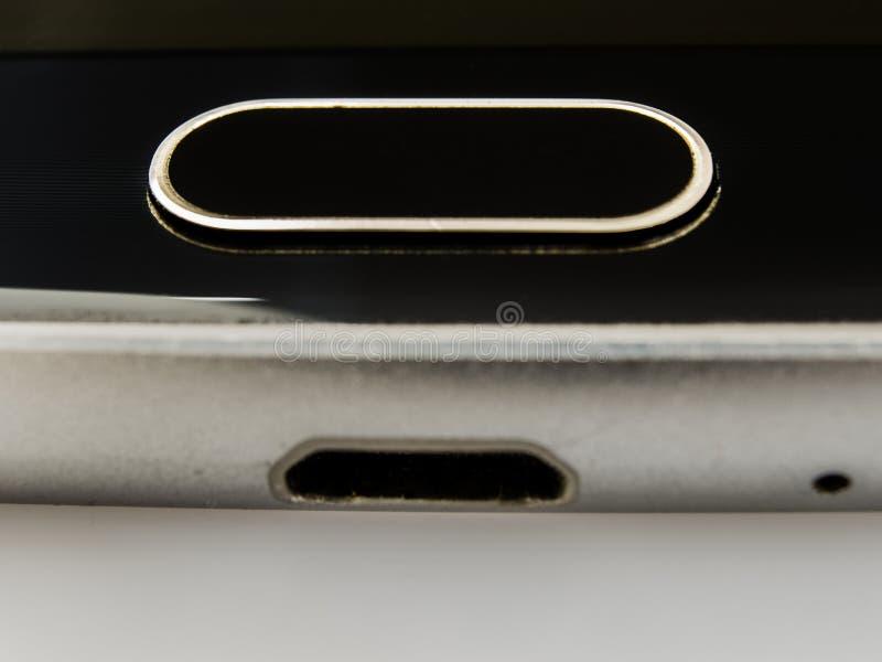 lector de huella dactilar de un tel?fono m?vil imágenes de archivo libres de regalías