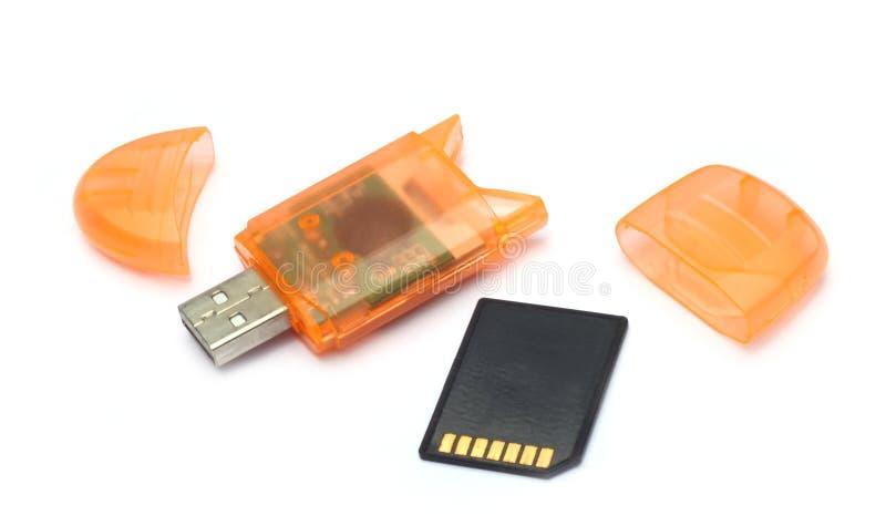 Lector de tarjetas de memoria del USB fotografía de archivo libre de regalías