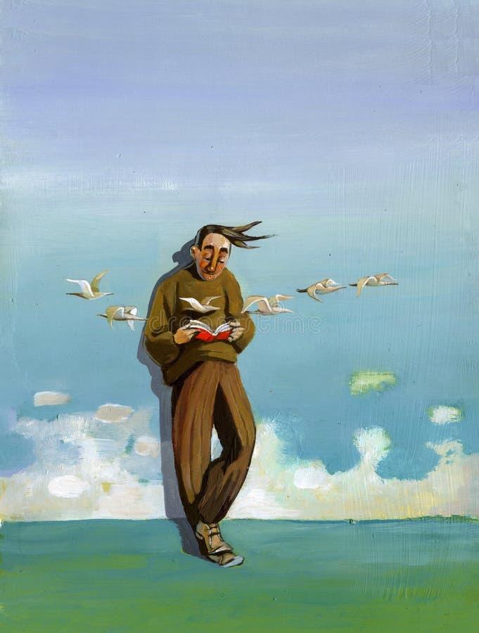 Lector perdido en el horizonte ilustración del vector