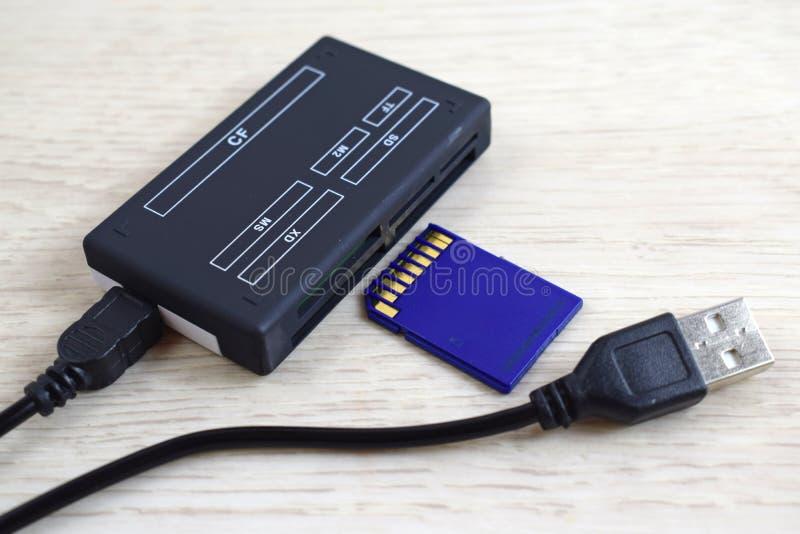 Lector y memoria USB de tarjetas imagenes de archivo