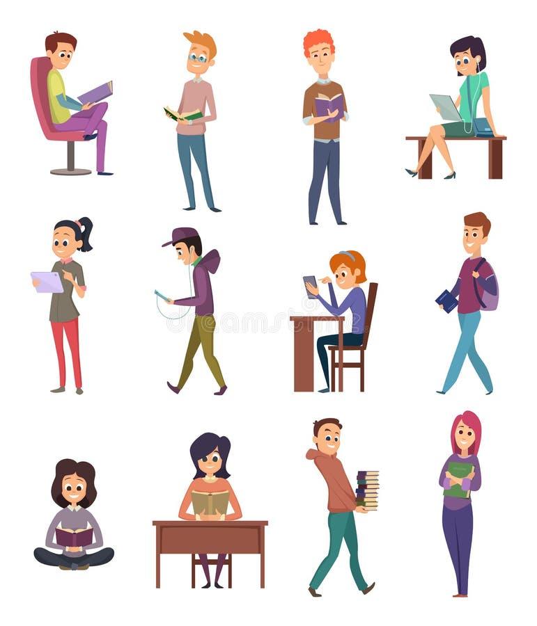 Lectura de caracteres El estudiante del conocimiento de la gente con los libros aprende en ejemplos del vector de la escuela del  ilustración del vector