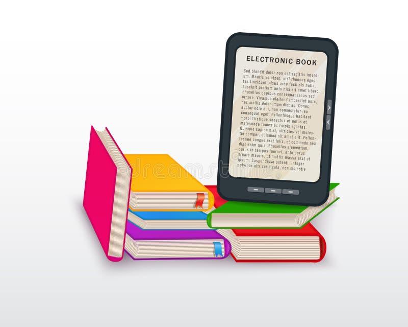 Lectura de Ebook, aprendizaje electrónico, cursos en línea, concepto digital de la biblioteca con la pila de libros y tableta ais stock de ilustración