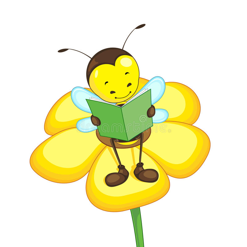 Lectura de la abeja en la flor