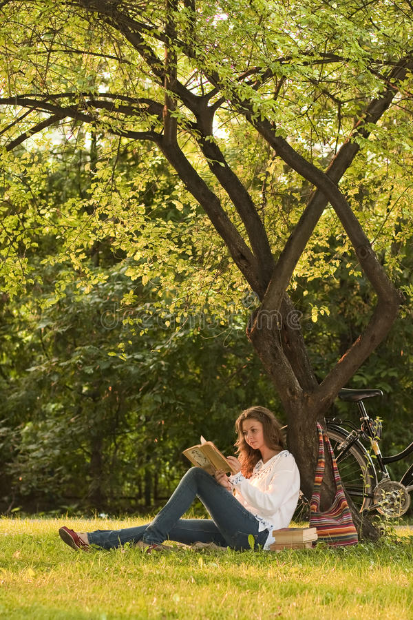 Lectura de la muchacha en parque imagenes de archivo
