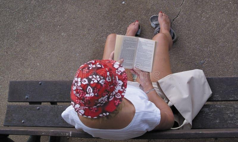 Lectura de la mujer en banco imágenes de archivo libres de regalías