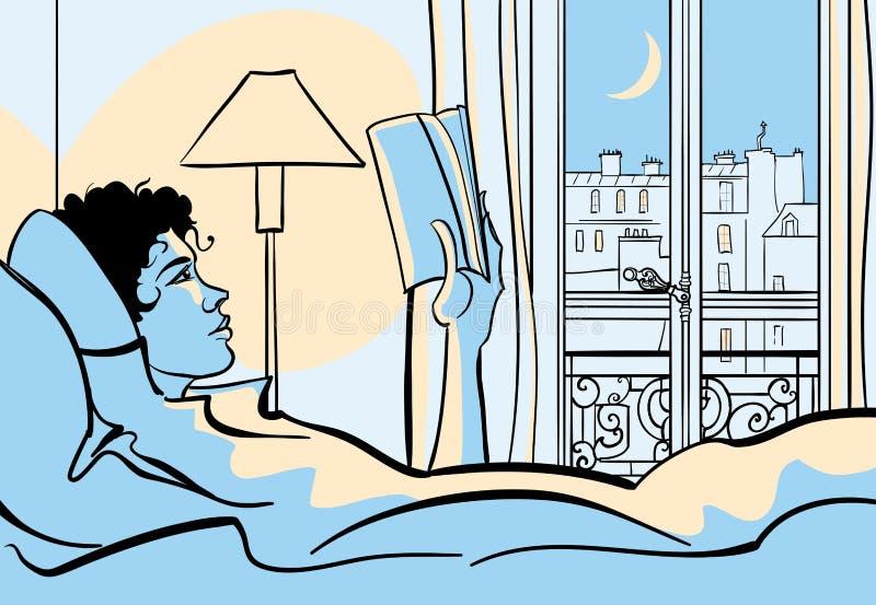 Lectura de la mujer en cama ilustración del vector