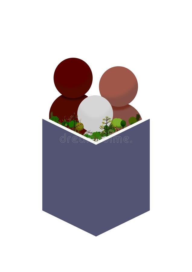 Lectura de la naturaleza stock de ilustración