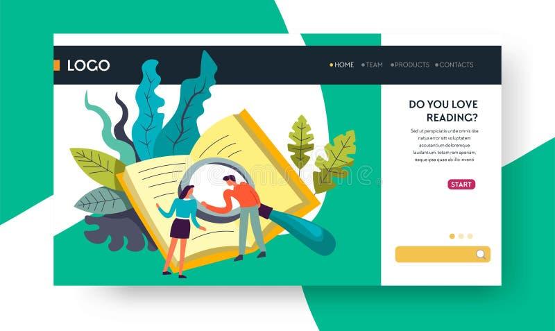 Lectura de los libros en línea de la biblioteca de la plantilla de la página web ilustración del vector